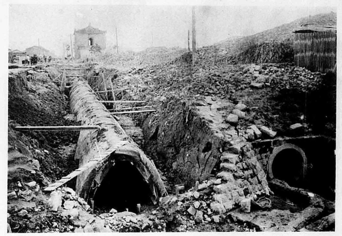 1910年代臺北市排水北幹線鋼筋暗溝施作